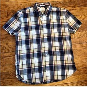 NWT Lucky Brand Plaid Madras Shirt Short Sleeve